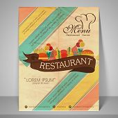 Restaurant and menu card design or flyer on retro background.