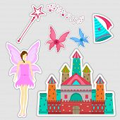 Beautiful sticker or tag for fairy concept with angel, magic stick, wings, castle and cap on grey background.