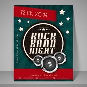 Stylish banner or flyer for rock band night party.