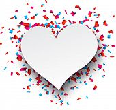 White heart love sign over confetti background. Vector holiday illustration.