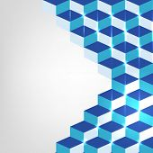 Abstract design of shiny blue blocks on grey background.