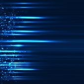 Abstract design of sparkling rays on dark blue background.