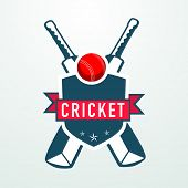 Cricket sports concept with bats, red ball and winning shield.