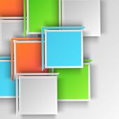 Abstract design of colorful big squares on grey background.