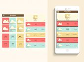 Stylish weather web application layout for mobile with smart phone presentation on beige background.