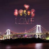 Love Sparkle Fireworks Celebrating Over Tokyo Rainbow Bridge At Night