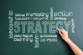 strategy related words written on blackboard