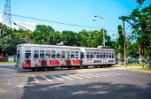 tram runs through the  streets of Kolkata