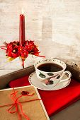 Valentine Love Greeting Card And Coffee Cup On Wooden Tray