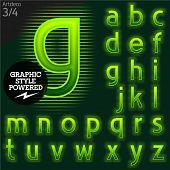 Techno style alphabet  sensitive to the background. Art-deco. Set 3