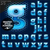 Techno style alphabet  sensitive to the background. Compact extra. Set 2