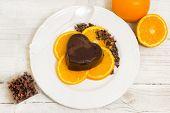 Chocolate Pudding Over Orange Slices