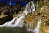 Night scene with waterfall.Take it in Luchky, Slovakia
