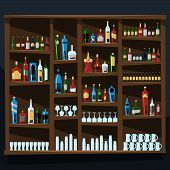 Alcohol Shelf Background Full Of Bottles