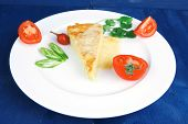 food : cheese casserole piece on white plate served with parsley and tomatoes on blue table