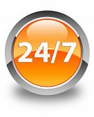24/7 Icon Glossy Orange Round Button