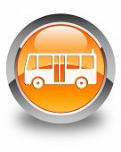 Bus Icon Glossy Orange Round Button