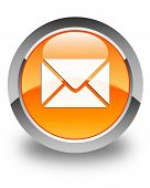 Email Icon Glossy Orange Round Button