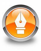 Pen Icon Glossy Orange Round Button