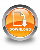 Download (Document Icon) Glossy Orange Round Button