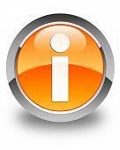 Info Icon Glossy Orange Round Button