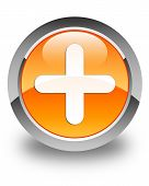Plus Icon Glossy Orange Round Button