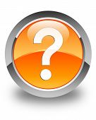 Question Icon Glossy Orange Round Button