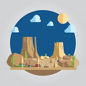 Flat Design Western Desert Illustration