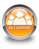 24/7 Support (customer Care Team Icon) Glossy Orange Round Button