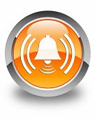 Alarm Icon Glossy Orange Round Button
