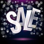 Winter Sale Blue Typography Symbol