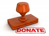 Rubber Stamp donate (clipping path included)