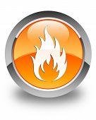 Fire Icon Glossy Orange Round Button