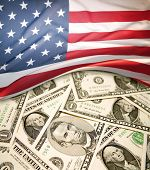 American flag on assorted banknotes