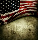Closeup of American flag on grunge background