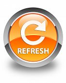 Refresh Glossy Orange Round Button