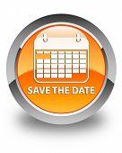 Save The Date Glossy Orange Round Button