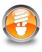 Bulb Icon Glossy Orange Round Button
