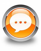 Conversation Icon Glossy Orange Round Button