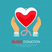stock photo of shapes  - Blood donation poster with hands holds transfusion equipment in heart shape vector illustration - JPG