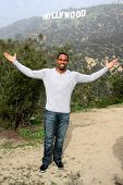 LOS ANGELES - JAN 20:  Jason George, Hollywood Sign at the AG Awards Actor Visits The Hollywood Sign at a Hollywood Hills on January 20, 2015 in Los Angeles, CA