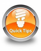 Quick Tips (bulb Icon) Glossy Orange Round Button