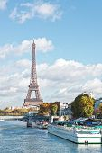 Paris, The Eiffel Tower And The Seine River In The Fall On A Sunny Day