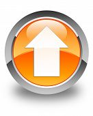 Upload Arrow Icon Glossy Orange Round Button