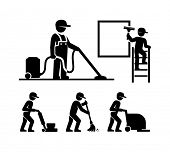 Cleaner Man working Pictogram Figure icons