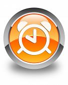 Alarm Clock Icon Glossy Orange Round Button