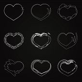 abstract white unhappy heart icons