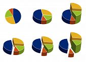 stock photo of pie chart  - 3D colored pie charts with different elevations - JPG