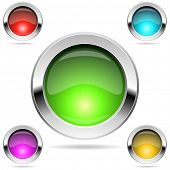 Shiny round color buttons with chrome frame isolated on white.