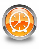 Clock Icon Glossy Orange Round Button